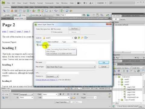 Dreamweaver External CSS