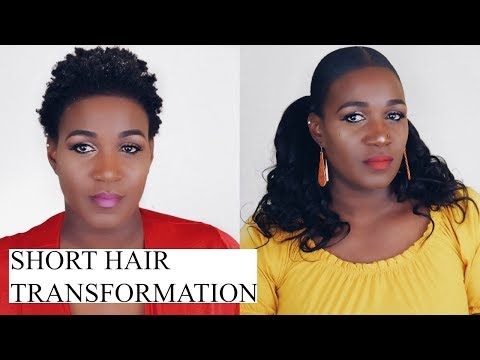 TWO LOW PONYTAILS  ON SHORT NATURAL HAIR USING WEAVE | NADULA HAIR