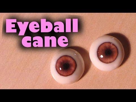 Polymer clay glass like doll eyes (eye ball cane tutorial)