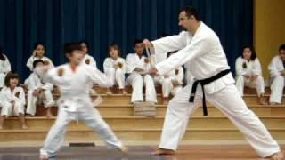 Austin Shotokan Karate Academy - Demonstration at Blazier Elementary - Board Breaking 1.MPG