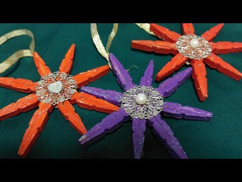Clothespin Snowflake Christmas Ornament