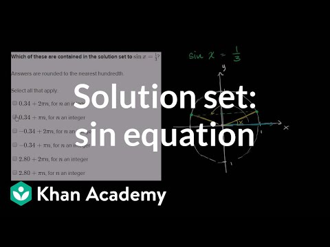Solution set to sin equation | Trigonometry | Khan Academy