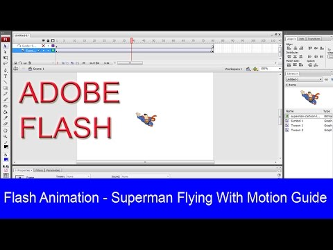 Animation Superman Flying With Motion Guide In Adobe Flash Professional