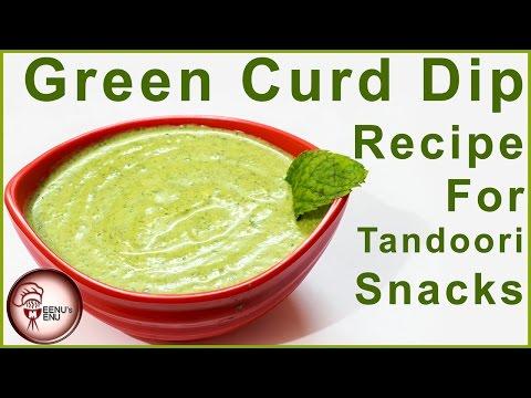 Green Curd Dip with Paneer Tikka - How to Make Dahi Wali Chutney
