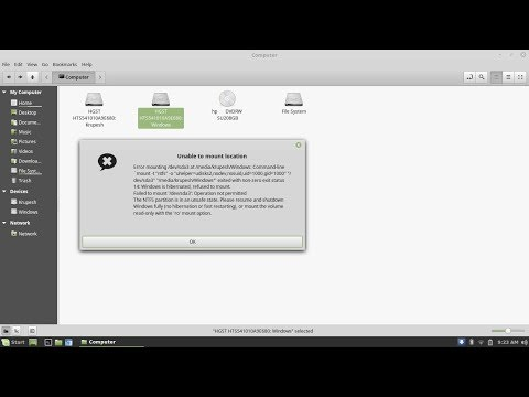 NTFS Partition fix Linux Mint 18.2