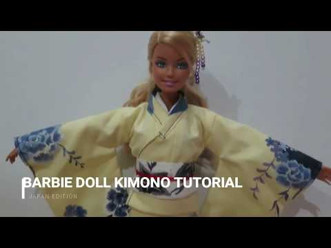 How to Make Barbie Doll Kimono Tutorial - Part 2 || Japan Edition || KKDollVillage
