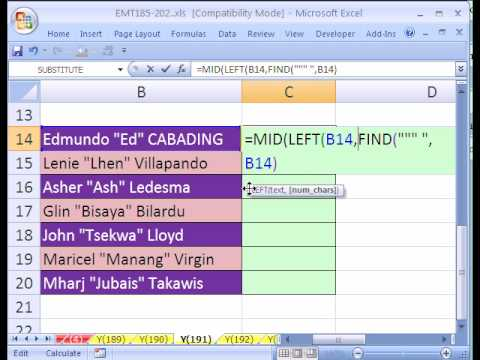 Excel Magic Trick #191: Extract Middle Name Formula