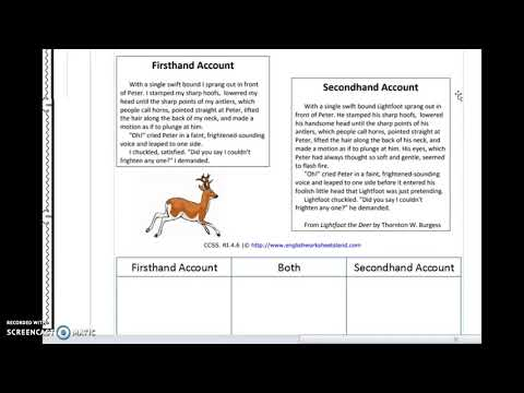 First and Second Hand Account 5th grade