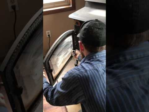 How to clean glass door on wood stove