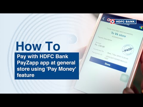 Mobile Payment App. How to pay with HDFC Bank PayZapp app at general store using 'Pay Money' feature