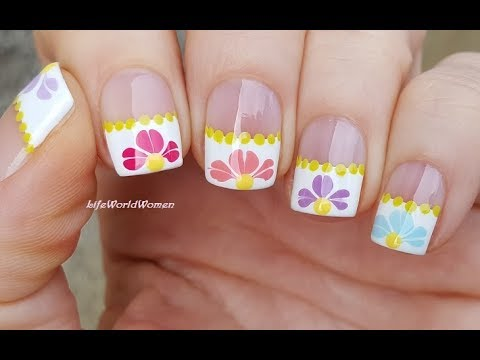 FRENCH MANICURE DESIGNS #9 / Spring Flower Nail Art With Needle & Dotting Tool