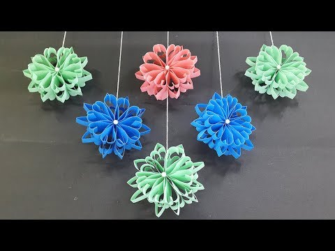 How to make Beautiful Wall Hanging with Paper Flowers - Room Decor Ideas