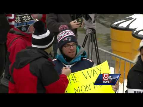 Patriots fans travel from Montreal, Canada to attend Boston parade