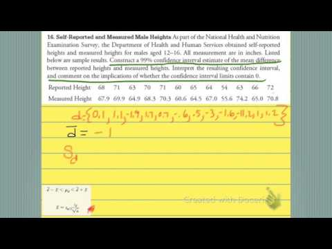 Hypothesis test using confidence intervals for the difference between means