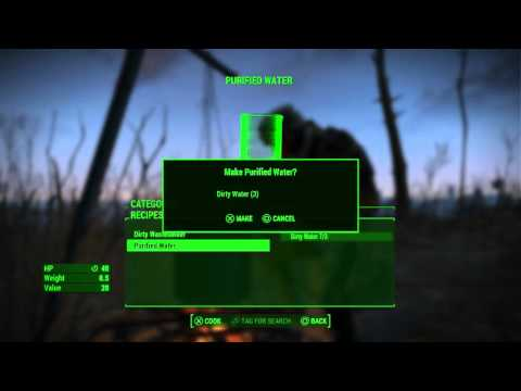Fallout 4 - Cooking Station: Craft Purified Water via 3 Dirty Waters ='s 1 Purified Water Gameplay