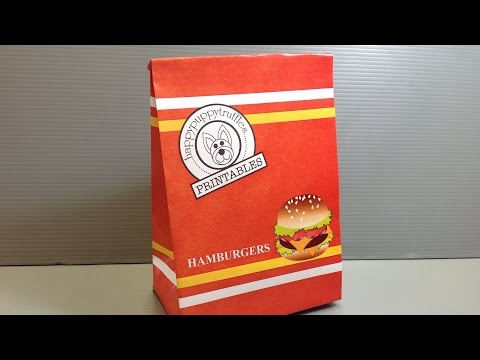 Origami Hamburgers Take Out Bag - Print Your Own