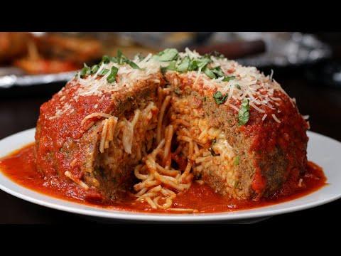 Giant Spaghetti-Stuffed Meatball