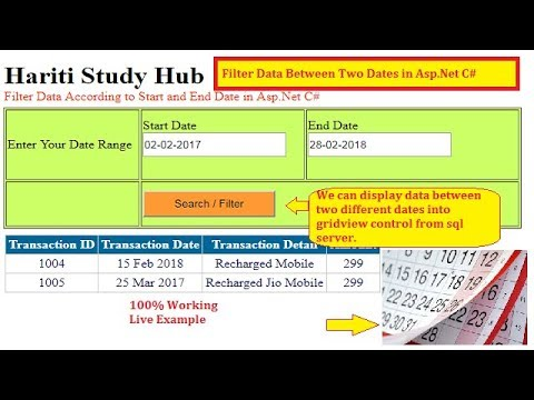 Search Data Between Two Dates From Database in Asp.Net C# | Hindi | Free Online Learning Classes