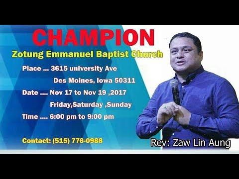 Rev.Zaw Ling Aung Sunday Night Sermon (One Champion )  2018
