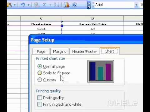 Microsoft Office Excel 2003 Print a chart