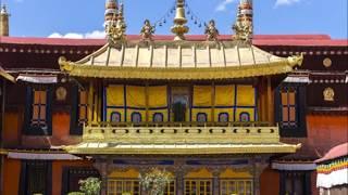 Jokhang Monastery fire in capital of Tibet, Lhasa, buddhist pagoda on fire