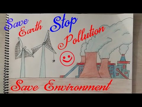 STOP POLLUTION Drawing Step By Step  || STOP GLOBAL WARMING Drawing || STOP AIR POLLUTION ||