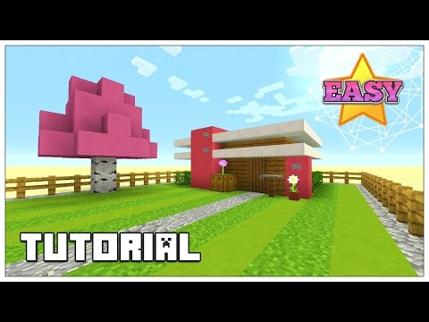 Minecraft: How To Build A Small Survival House Tutorial (PINK HOUSE ) (Cute House) 2016