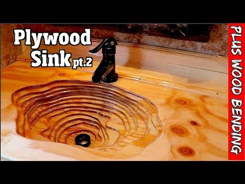 Rustic Plywood sink with custom bent back splash & countertop  pt2of2