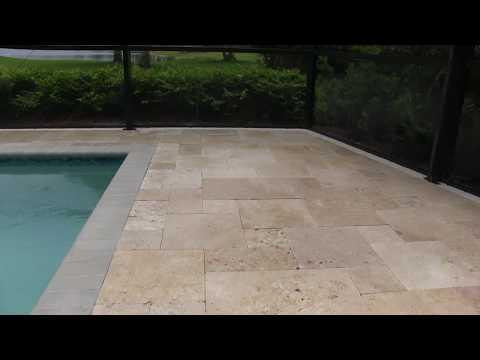 Travertine Paver Pool Deck - Naples FL
