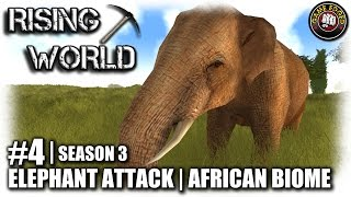 Rising World | EP4 | African Biome, Elephant Attack | Let's Play Rising World Gameplay (S3)