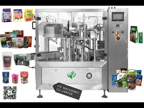 rotary plastic bag filling sealing packing machine standup zippered pouch packers