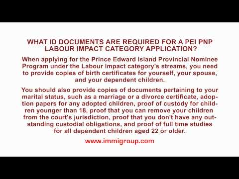 What ID documents are required for a PEI PNP Labour Impact Category application?