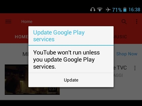 Fix YouTube Update Google Play Services Problem ?