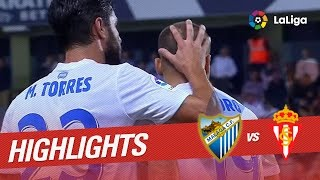 Resumen de Málaga CF vs Sporting de Gijón (3-2)