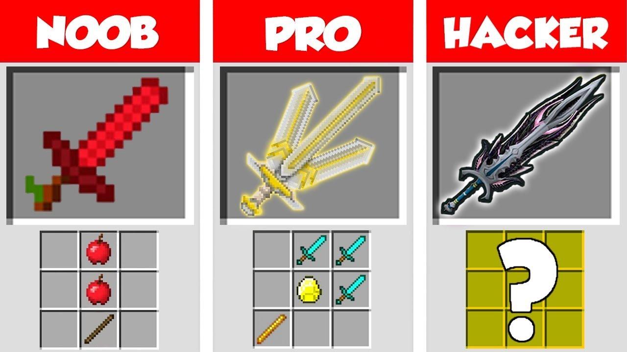 Minecraft NOOB vs PRO vs HACKER: SUPER SWORD CRAFTING CHALLENGE in Minecraft / Animation