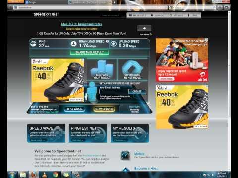 MTNL Broadband 2 MBPS Speed Test result Full