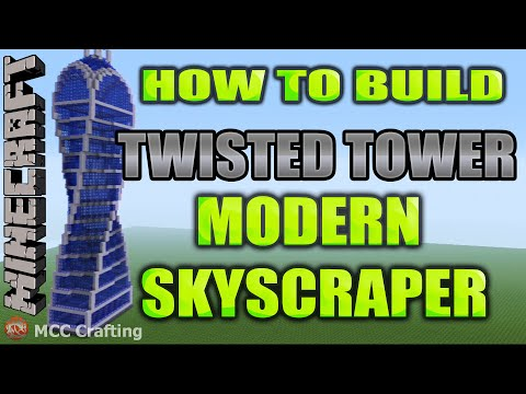 Minecraft How to Build Twisted Spiral Corkscrew Quad Helix Modern Infinity Tower Skyscraper Building