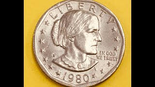 """US 1980 P Susan B Anthony Dollar - United States First """"Small"""" $1 Coin - Back= Eagle Landing on Moon"""