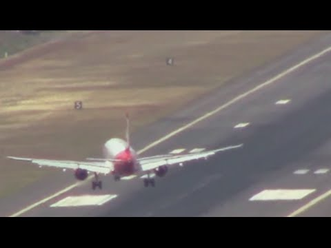 Terrifying Footage: Planes struggle to land in high winds at Madeira airport