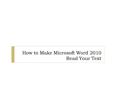 How to Make Microsoft Word 2010 Read Using Text to Speech