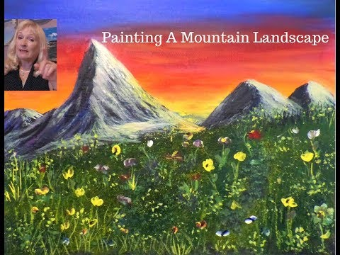 Painting a Mountain landscape with Acrylic paint for beginners Live Stream