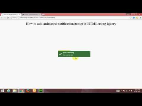 [Hindi] Make animated notification(toast) in html using jquery