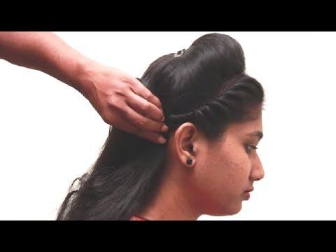 Side Bridal Hair style for medium hair tutorials 2018    New Puff Hair style videos 2018