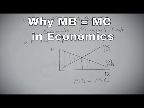 What marginal benefit equals marginal cost means in economic terms