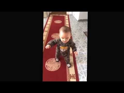 Toddler Learning To Walk. (In slow motion)