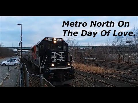 Late Metro North 1934/1981 Arrives And Departs Waterbury, CT On Valentine's Day 2-14-18