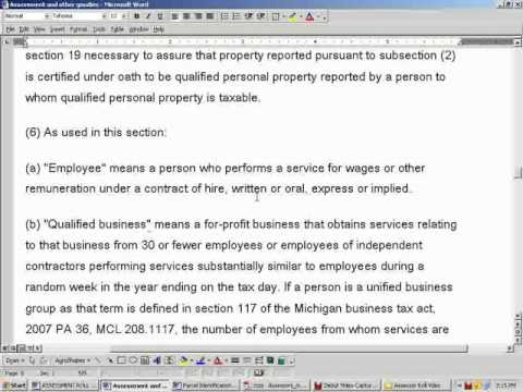 Assessment Roll and Property Descriptions