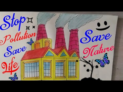 How To Draw Stop Air Pollution Coloring Drawing For Kids || Save Earth, Save Environment |guru 1002|