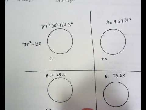 Geometry:  4.1 find circumference when given area problem 1