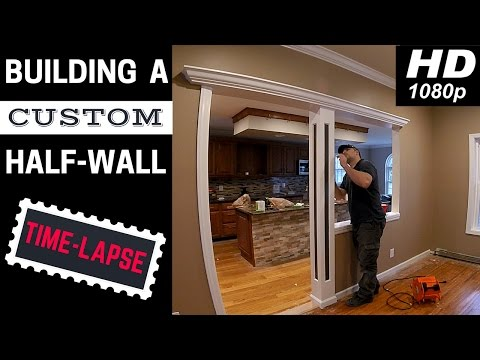 Complete time lapse of us building a custom half wall with LED lights and raised panel column